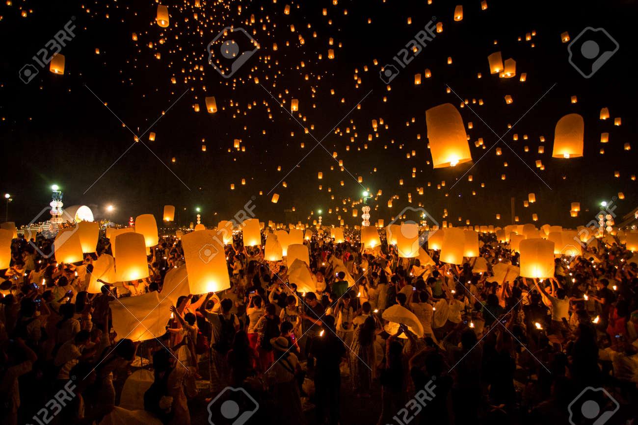 Floating lanterns yeepeng or loi krathong festival at Chiang Mai, Thailand. - 36925841