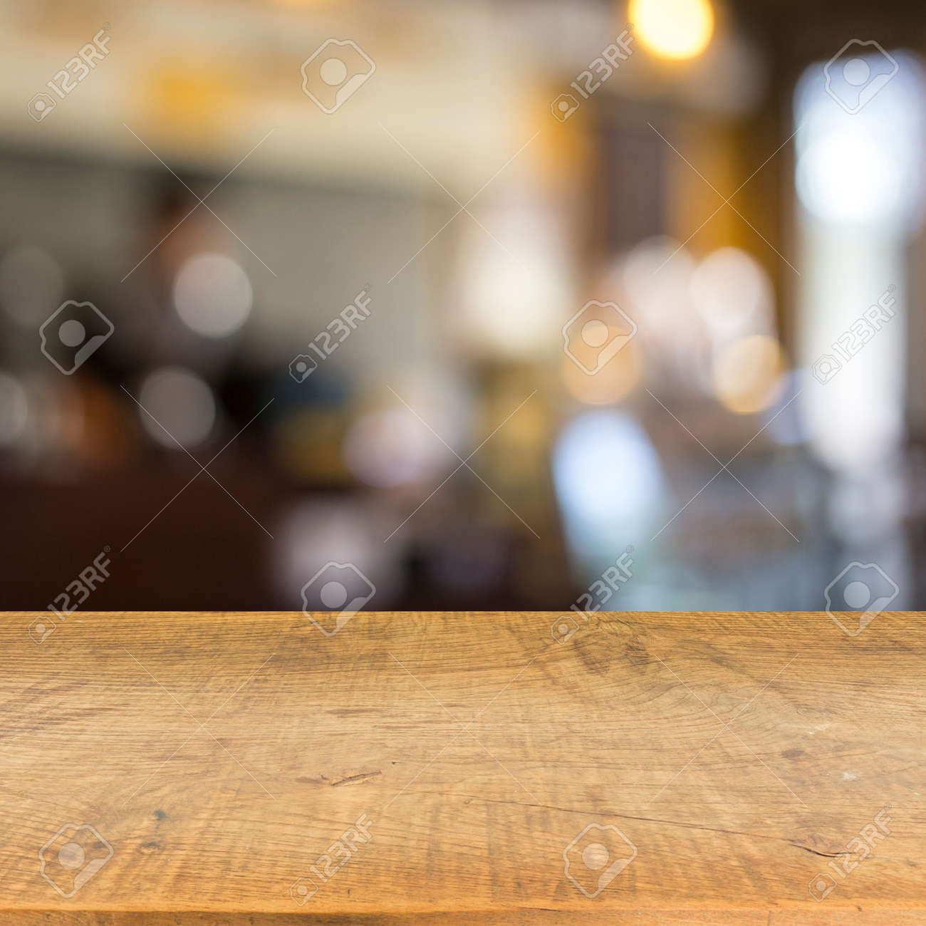 Blur cafe and wood floor texture background - 42054800