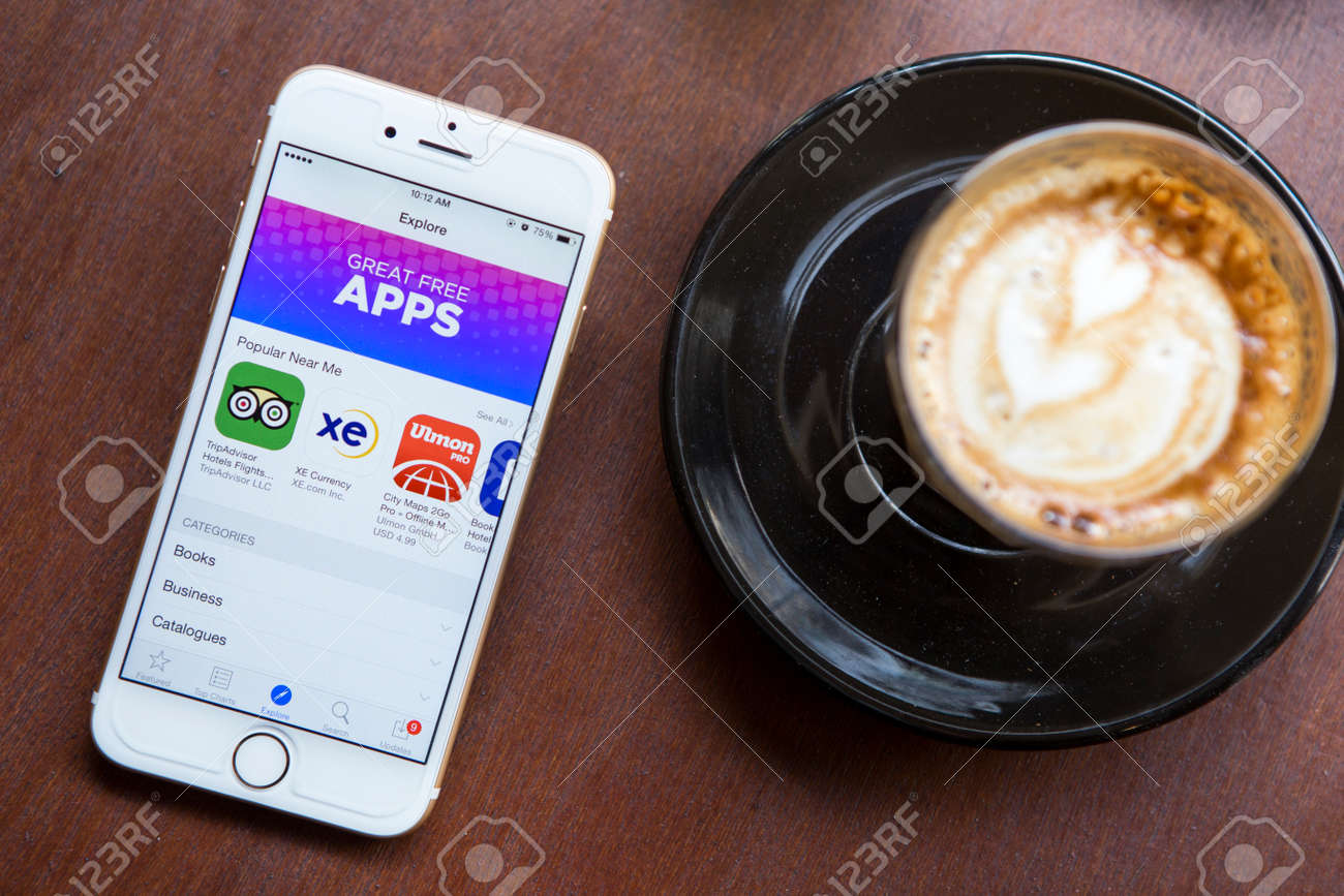 CHIANG MAI, THAILAND - APRIL 22, 2015: App Store features information page on brand new Apple iPhone 6. App Store is a digital distribution service for mobile apps on iOS platform, developed by Apple Inc. - 42011783