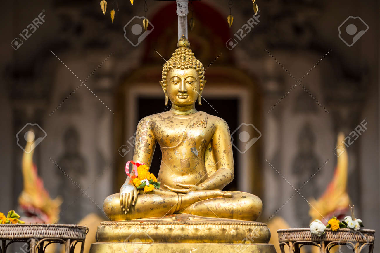 Golden buddha on front of Chiang Mai temple Sonkran festival. Thailand. - 42054846
