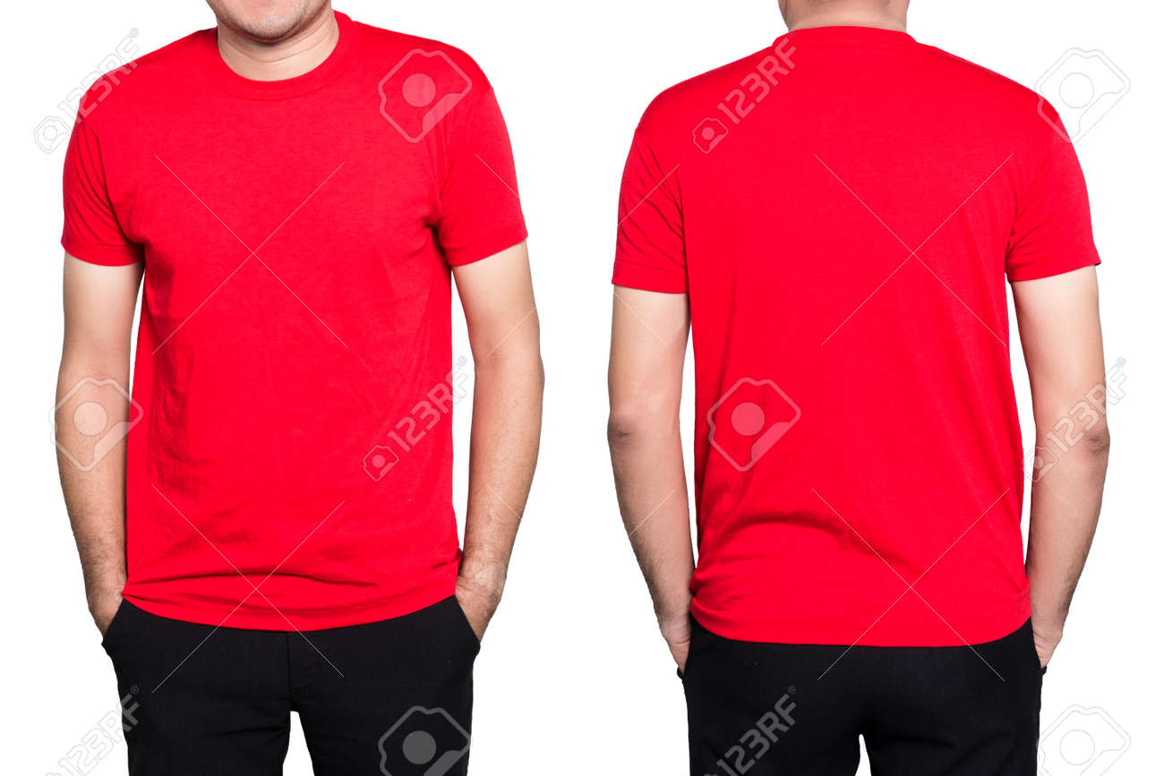 54f465e0 Handsome man in a blank red t-shirt isolated on white background. Stock  Photo