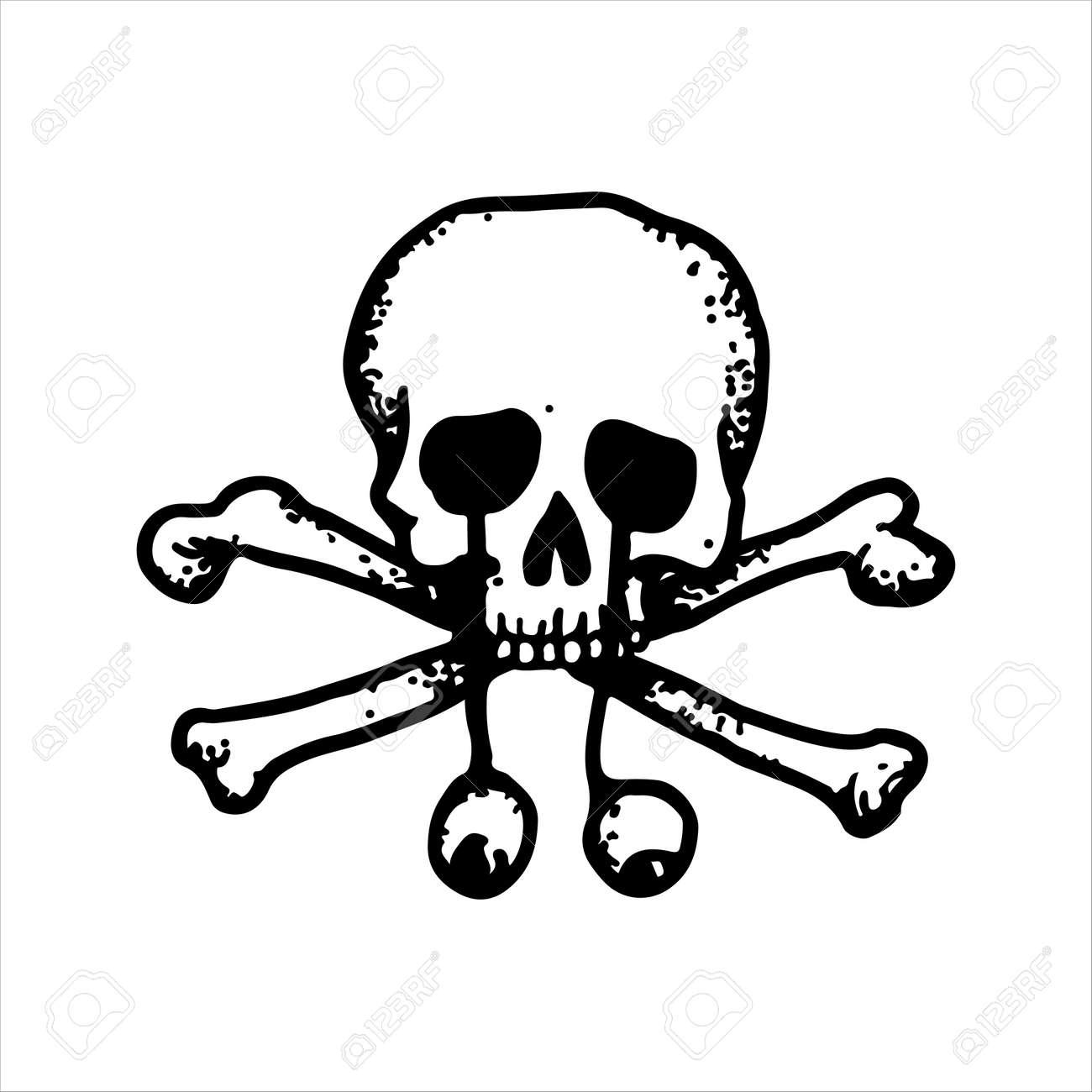 Crâne et os croisés autocollants