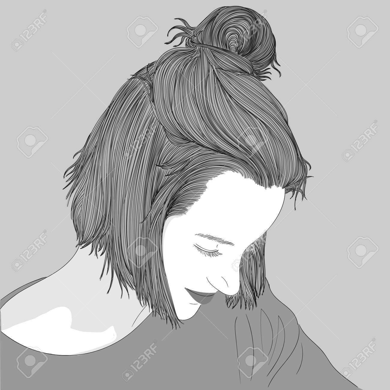 Doodle beautiful woman drawing a sketch of a female hairstyle fashion illustration of girl
