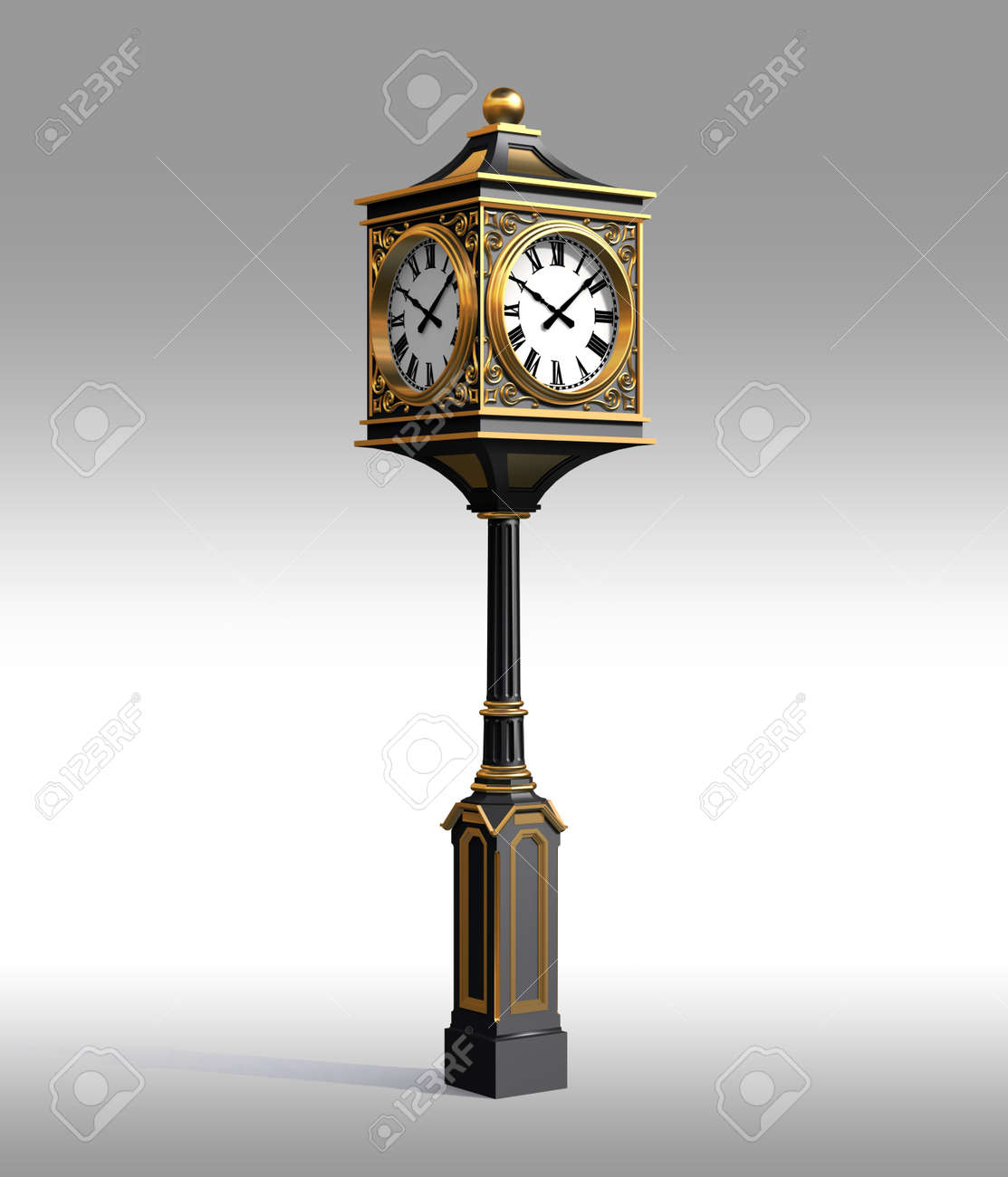 3D Model of bronze classic street clock with work clipping path Stock Photo - 8457448
