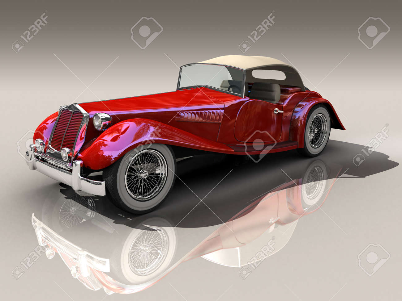 Shiny Old Hot Rod 3D Model Of Vintage Red Car Stock Photo, Picture ...