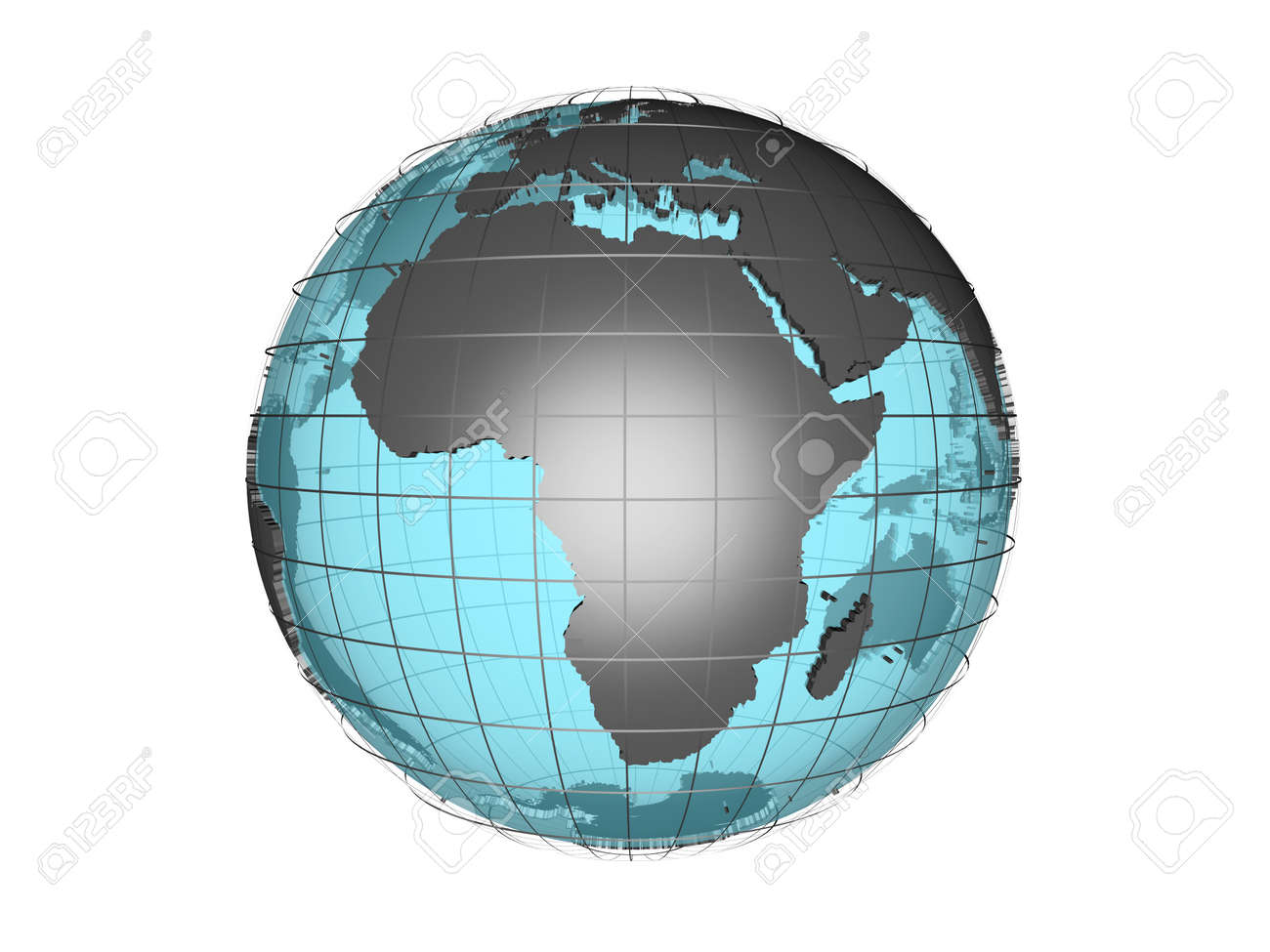 3D Model Of Globe Map Showing Africa Continent Stock Photo