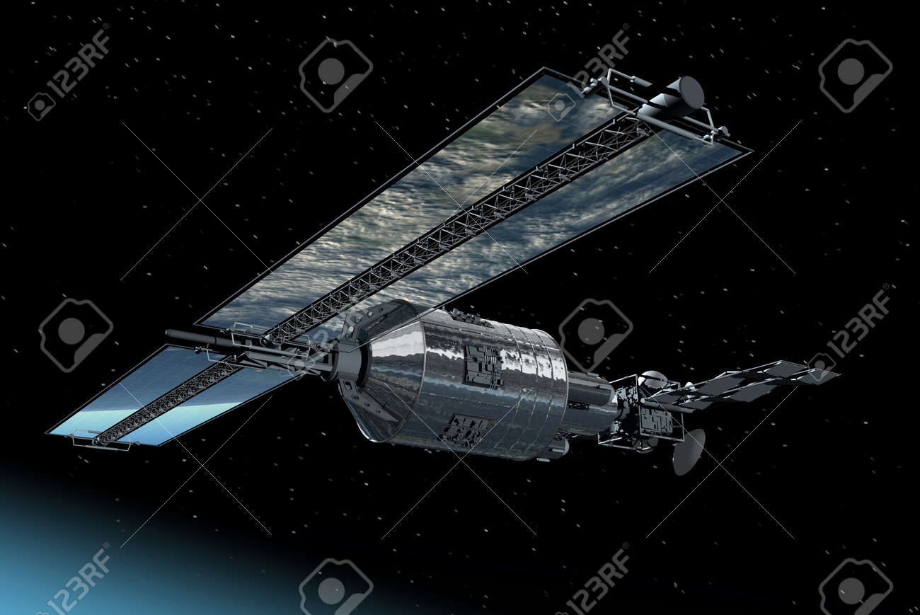 Telecommunication Satellite flying over with mirror solar panels reflecting Earth Stock Photo - 8668884