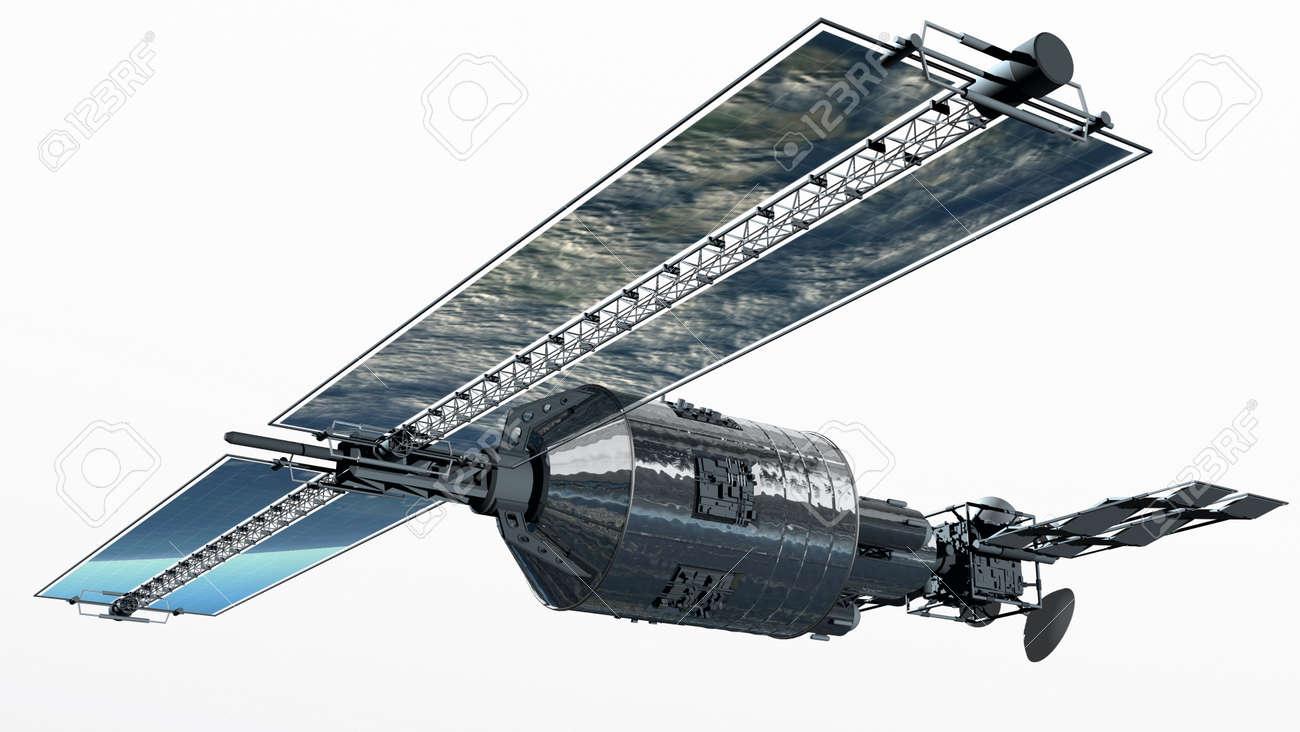 Telecommunication Satellite flying with solar panels Stock Photo - 9019757