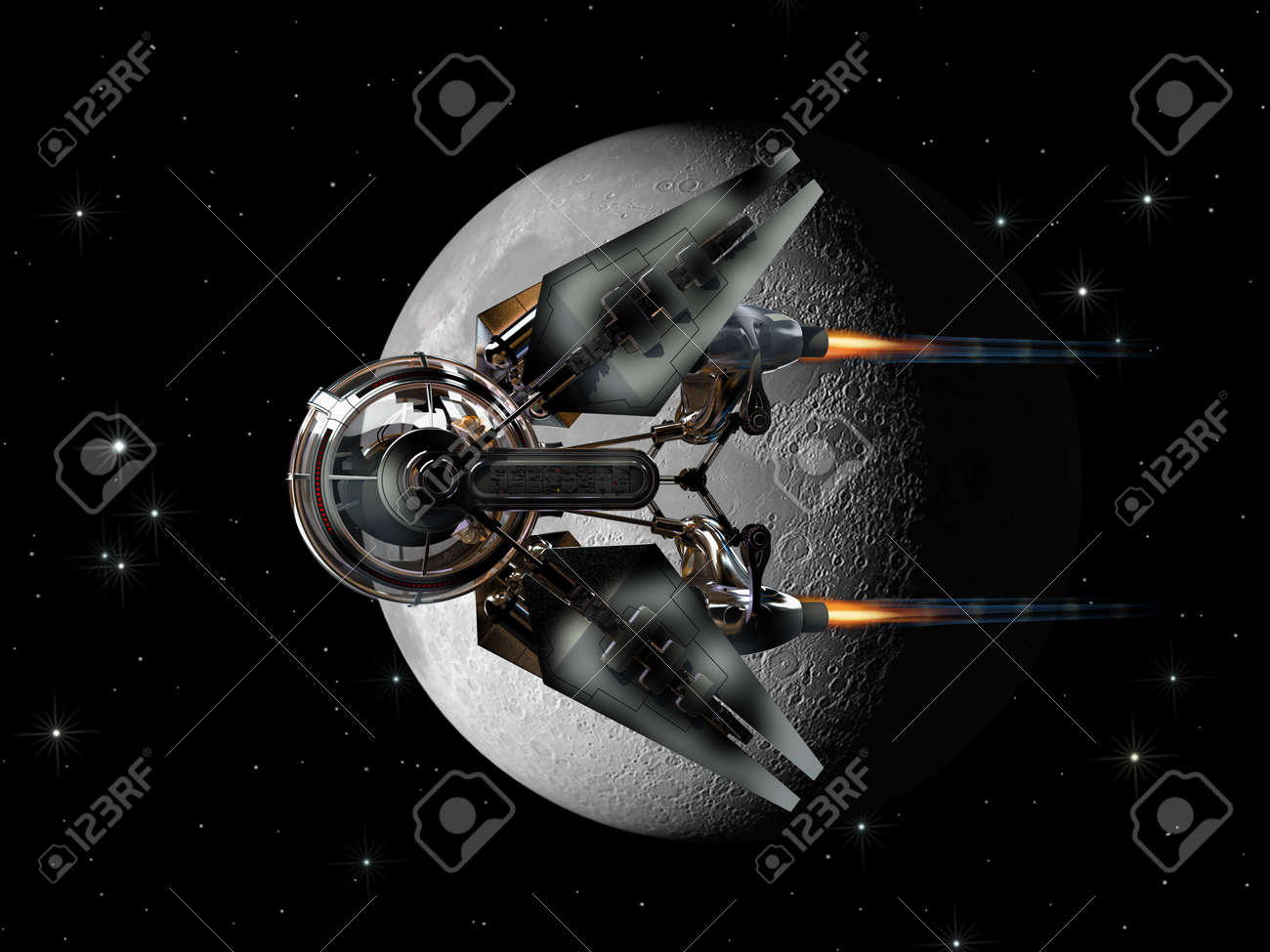 Alien Spaceship With Spherical Drone Like Pod Passing The Moon For Futuristic Space Exploration Or Fantasy