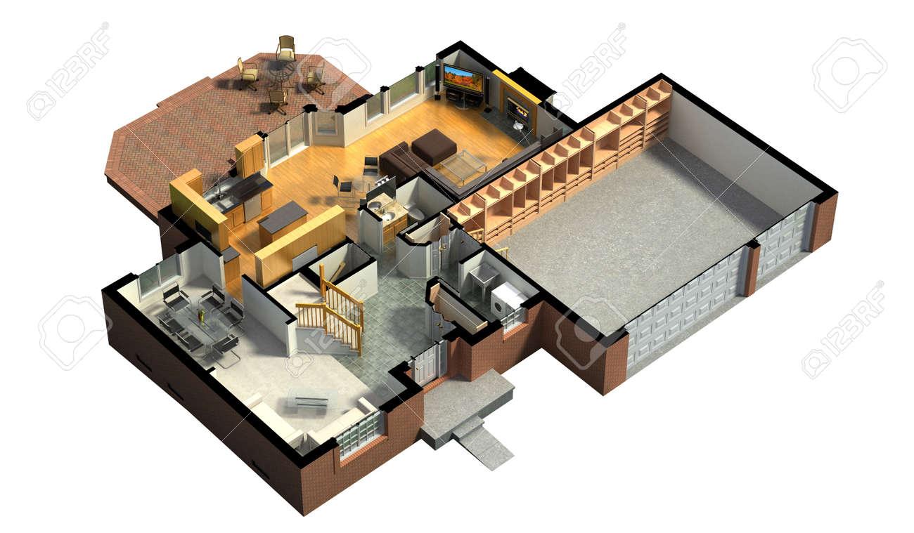 Hauspläne 3d  3D-Rendering Von Einem Möblierten Wohnhauses, Mit Dem Ersten ...
