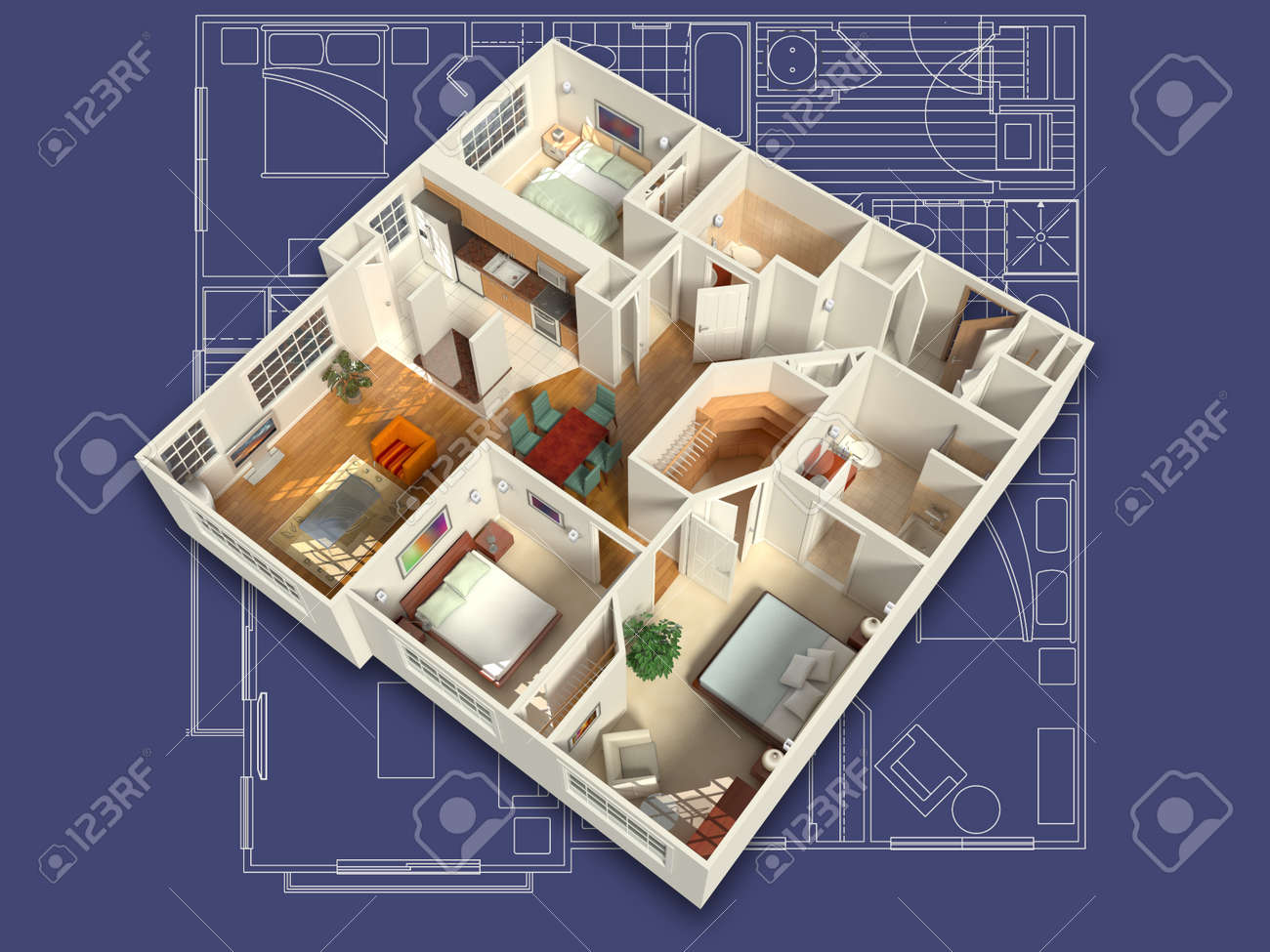 3D House Interior On A Blueprint Stock Photo, Picture And Royalty ...