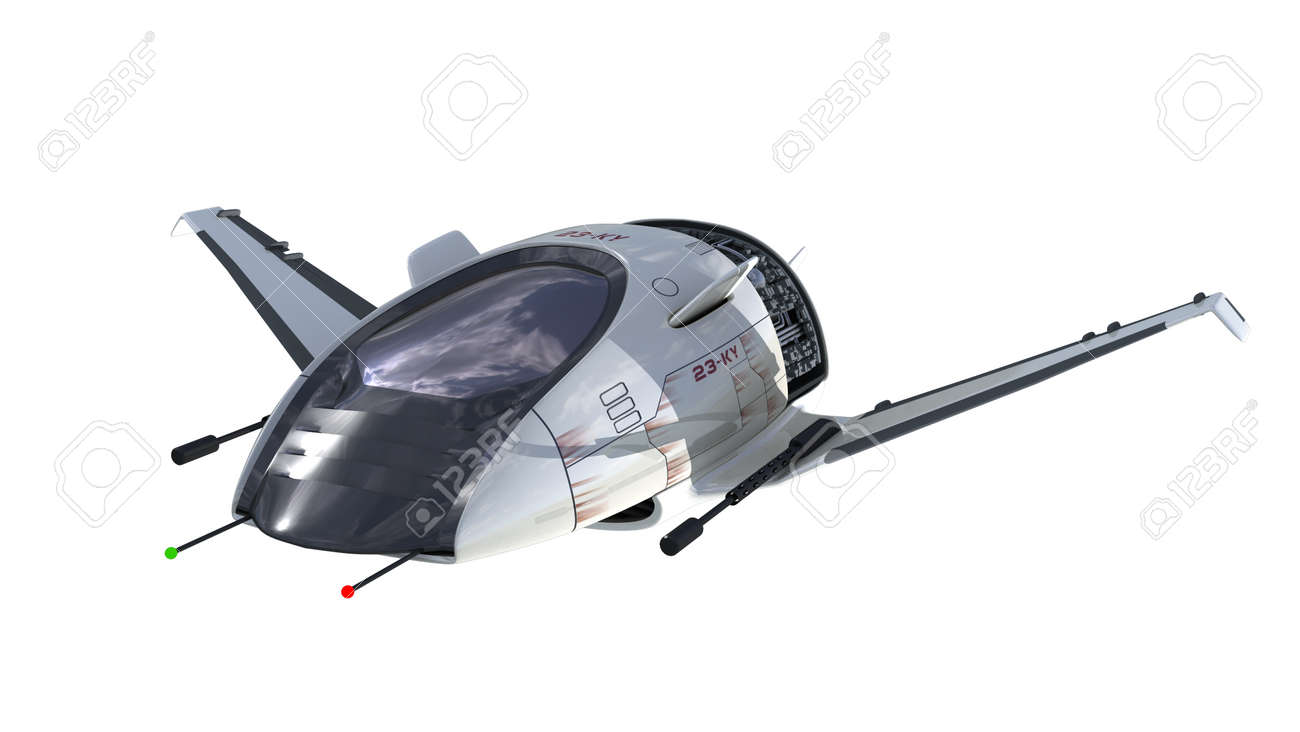 3D Illustration Of Futuristic Spacecraft Or Military Surveillance Drone For Fantasy Games Science Fiction Backgrounds