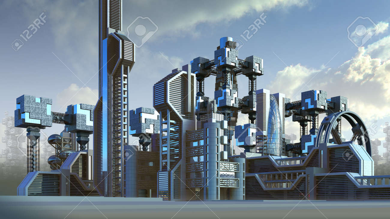 3D Illustration of a futuristic city skyline architecture with skyscrapers and modern glass structures, for fantasy or science fiction backgrounds - 69924285