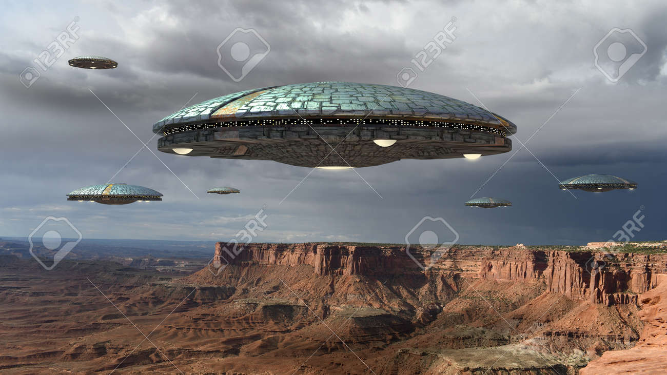 Alien spaceship fleet above the Grand Canyon, in Canyonlands, Utah, USA, for futuristic, fantasy and interstellar travel or war game backgrounds. - 84945318