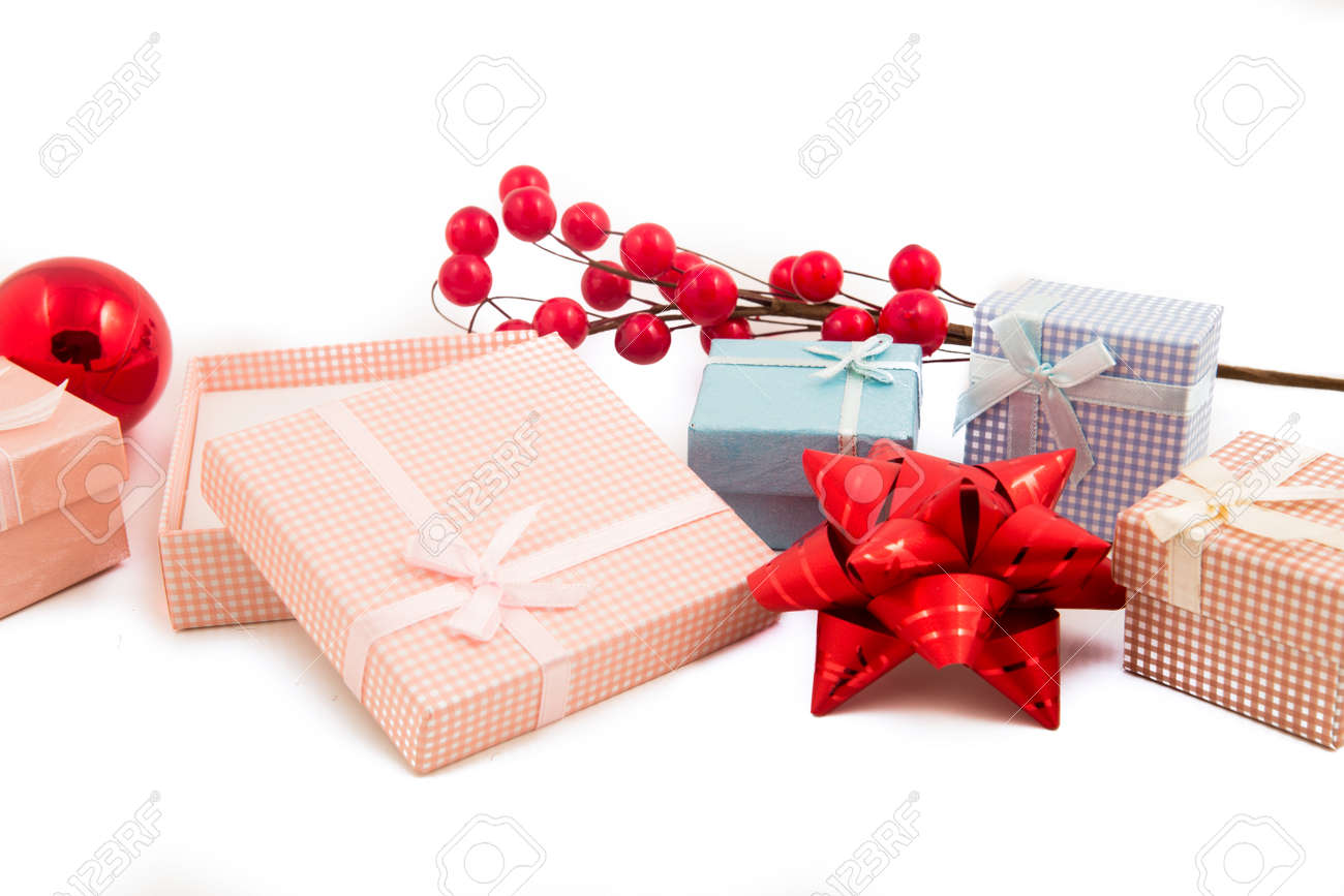 Christmas Gift Packages.Gift Packages And Christmas Colored Accessories Isolated On White