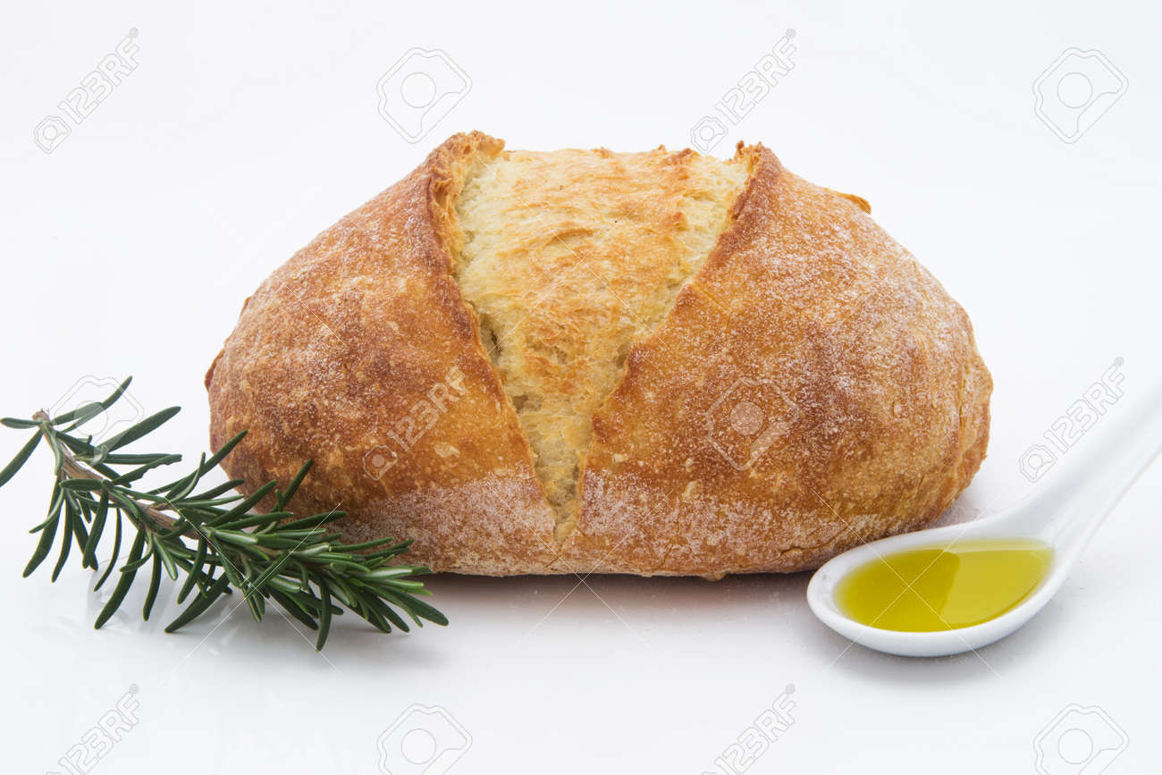 White Delicious Italian Artisan Bread With Olive Oil On A