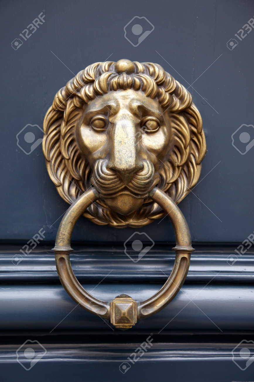 Door Handle Lion On Blue Door With A Ring In The Mouth Stock Photo    18786011