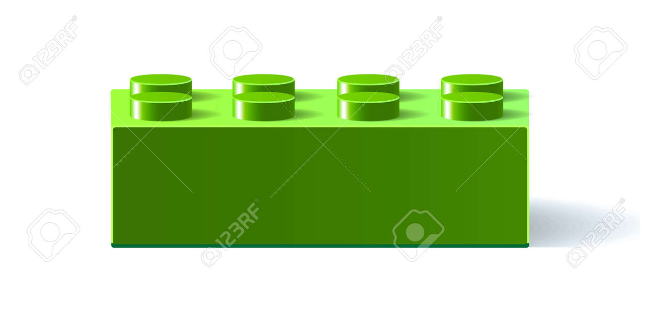 Green icon Lego. 3D Lego. Constructor. Building block toy. Green building block toy with shadow. Isolated on white background. Vector illustration Eps10 file. - 95763006
