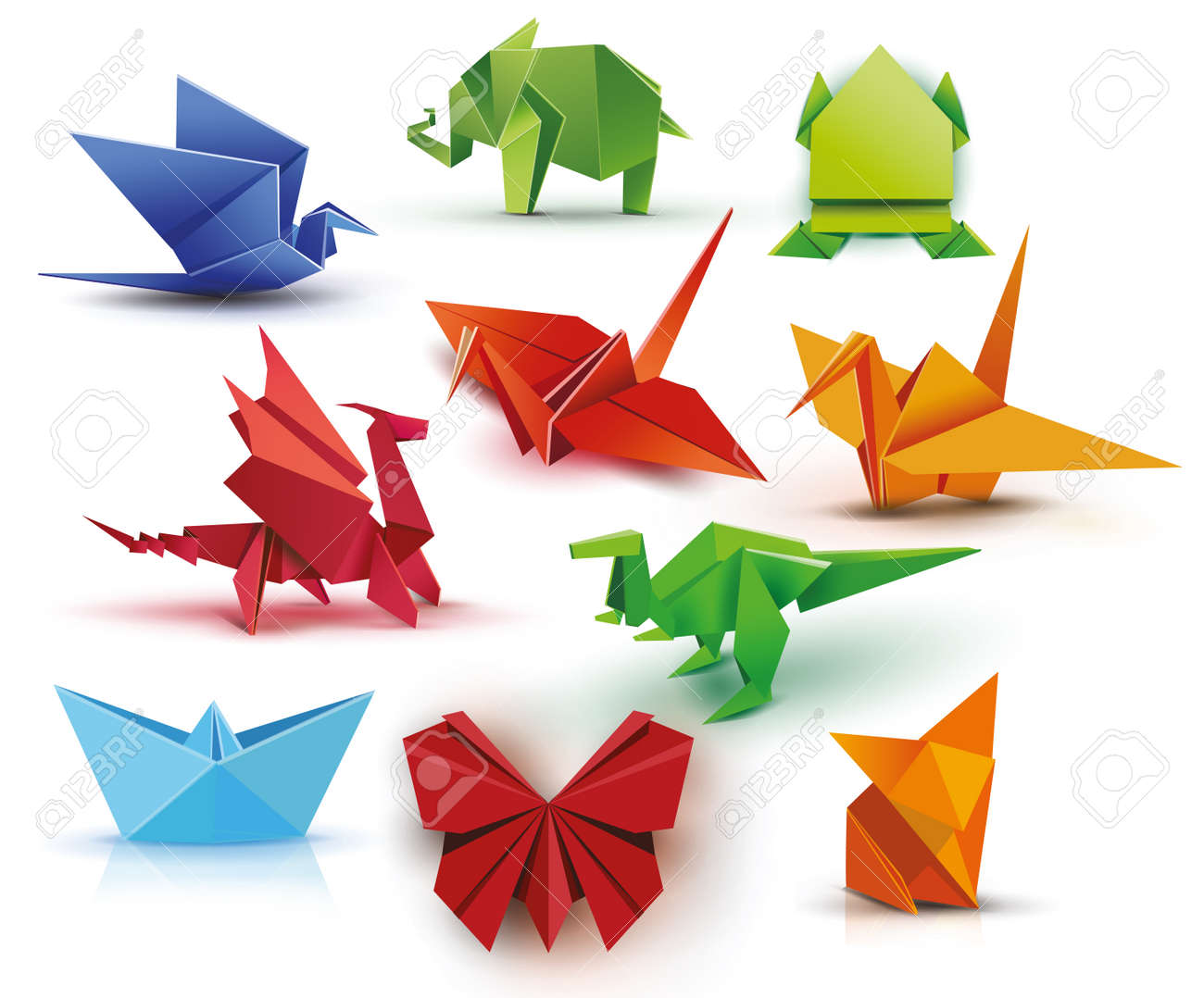 A Set Of Origami Butterfly Crane Frog Elephant