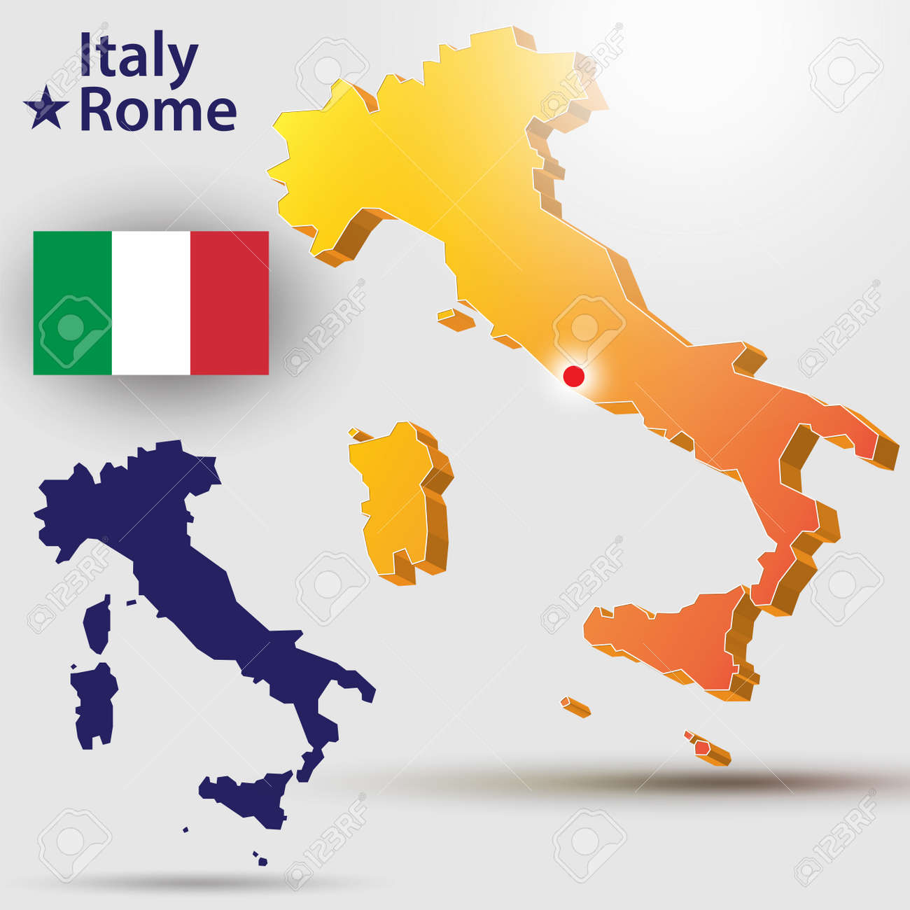 Capital Of Italy Map.Map Of Italy Vector Silhouette Of The Italian Flag The Country S