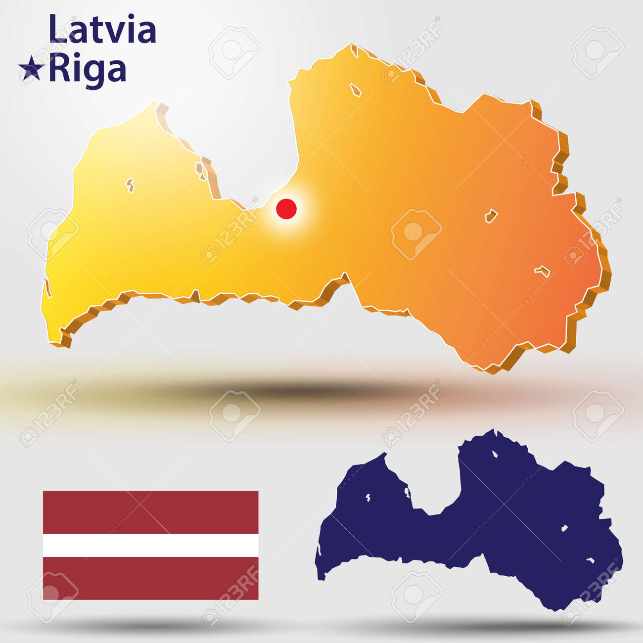 Map Of Latvia. Vector Silhouette Of The Latvian Flag. The Country\'s ...