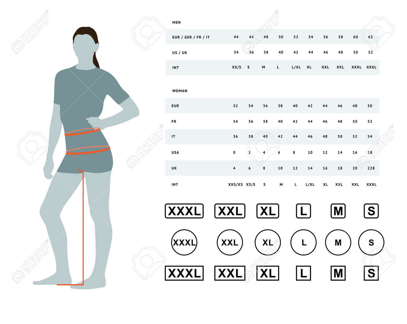 Measurements for clothing. Vector illustration of the dimensions of the female waist and hips. Size chart for women. Model template with international sizes can be used for female linen, clothes - 117462703