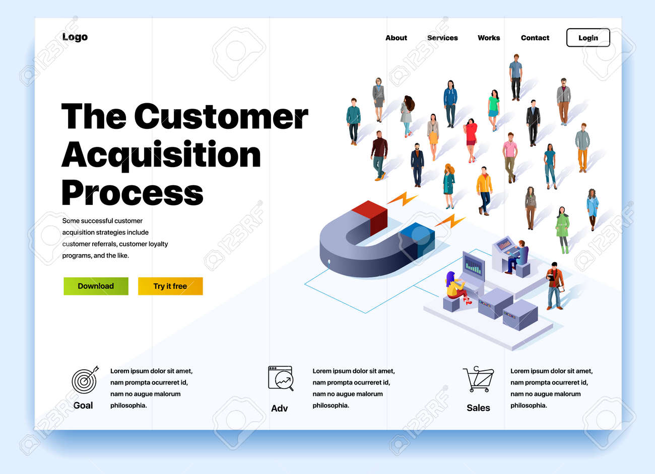 Website providing the service of the customer acquisition process. Concept of a landing page for customer acquisition process. Vector website template with 3d isometric illustration magnet and client - 124632215