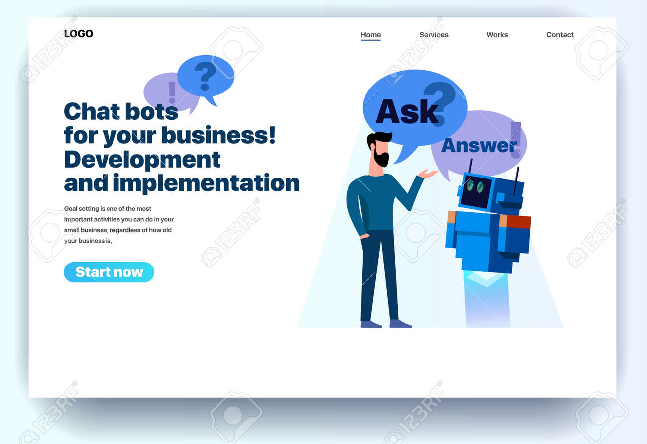 Web page flat design template chatbots for your business  Landing