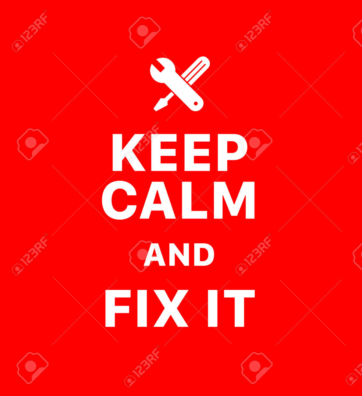 Keep calm and fix it. Creative poster concept. Typography poster. Card of invitation. Motivation. Modern lettering inspirational quote isolated on red background - 128619189