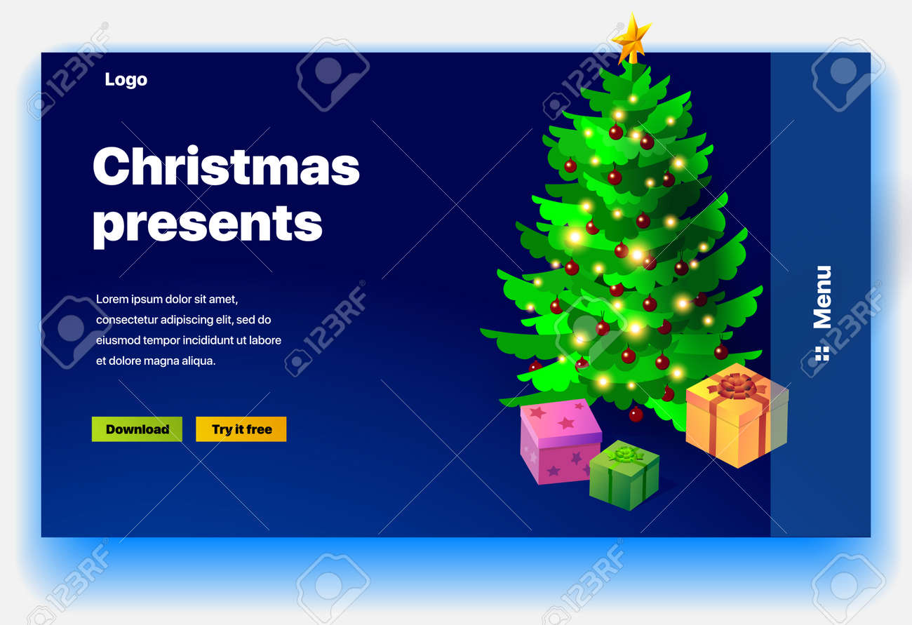 Website Christmas presents. Website providing of Christmas presents. Concept of landing page for Christmas presents. Vector website template with 3d isometric illustration of christmas tree and gifts - 134430910