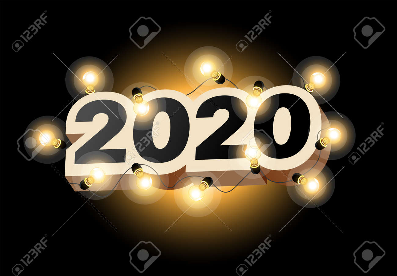 Happy New Year 2020 logo text design. Vector illustration 2020 symbol year from numbers and luminous garland on dark background. Merry Christmas template brochure, invitations, cards, banners, flyers - 134469368