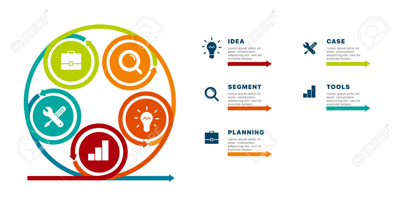 Info graphics of success. Template business info graphics with five steps to success. Business startup concept. Can be used for workflow layout, diagram, business step, banner, web design. Vector - 136220580