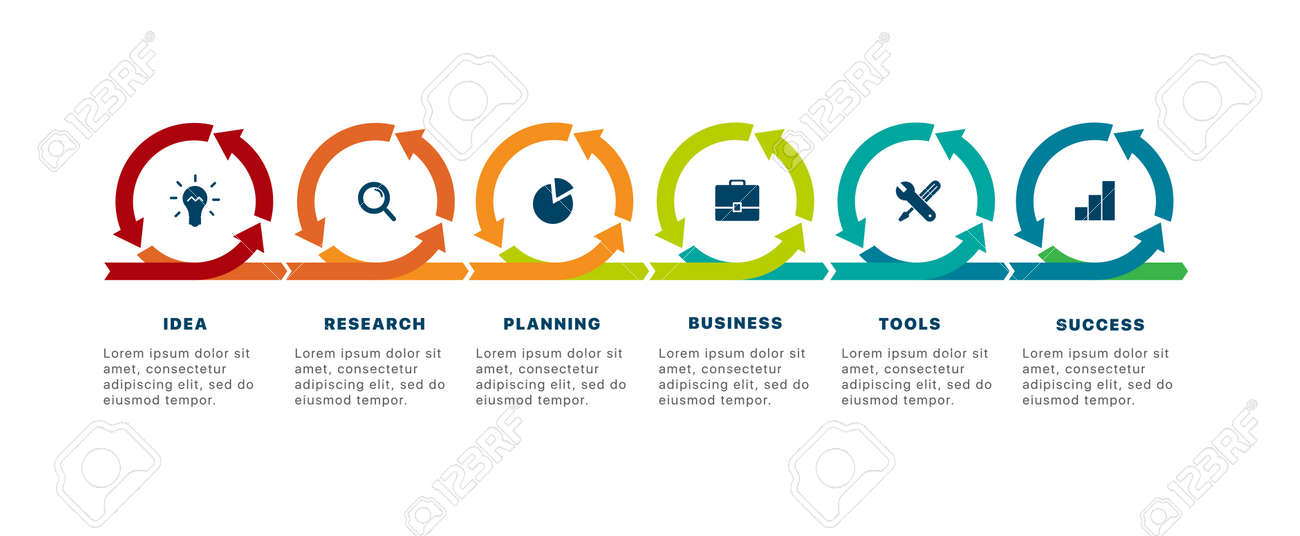 Infographics of success. Template business infographics with six steps to success. Business startup concept. Can be used for workflow layout, diagram, business step options, banner, web design. Vector - 137120733