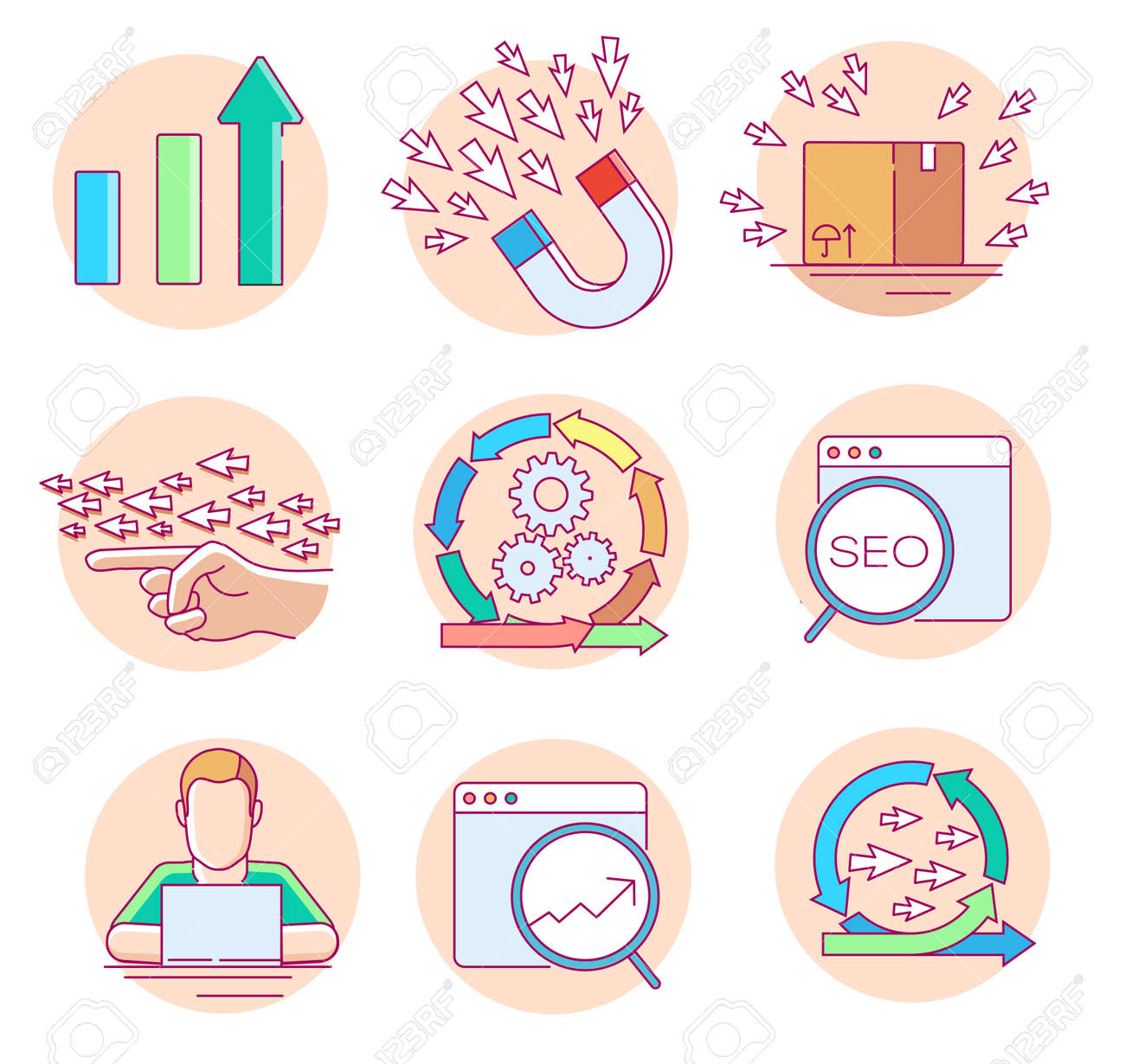 Modern linear pictogram of seo and website statistic. Set of concept line icons for seo and website statistics. UI/UX for web design, applications, mobile interface, infographics and print design - 137501721