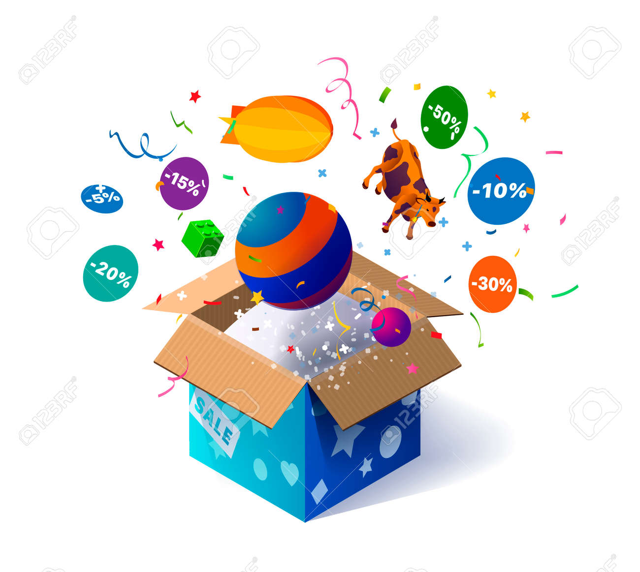 Open cardboard box with kids toys and confetti explosion inside and on white background. Lottery. Promotional banner. Illustration for advertising decoration of stores and for raffle prizes - 140640922