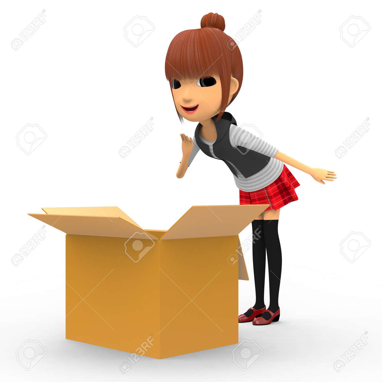 Looking in a cardboard box. Stock Photo - 18704975