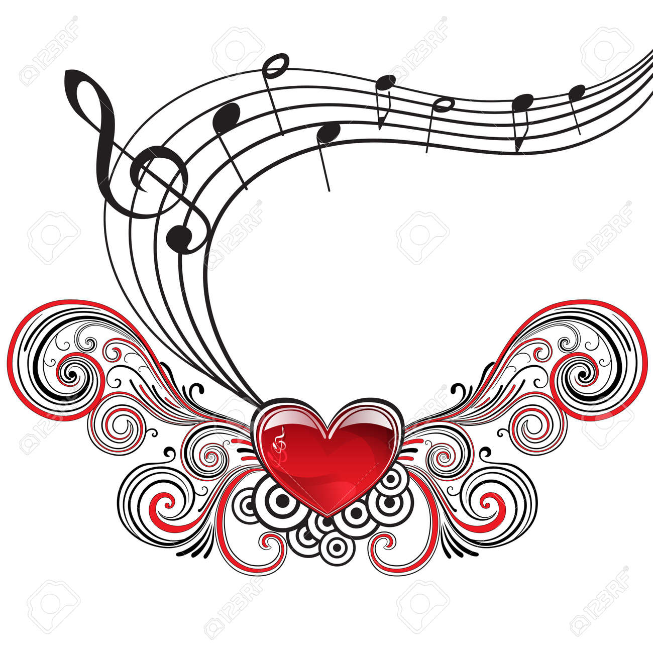 heart in grunge style with musical notes and treble clef royalty rh 123rf com Music Notes Graphics Music Notes Graphics