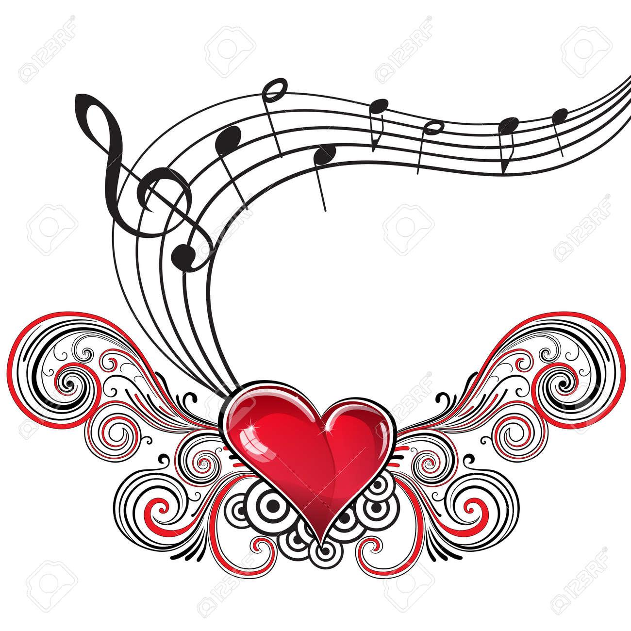 Corazón En El Estilo Grunge Con Notas Musicales Y Clave De Sol