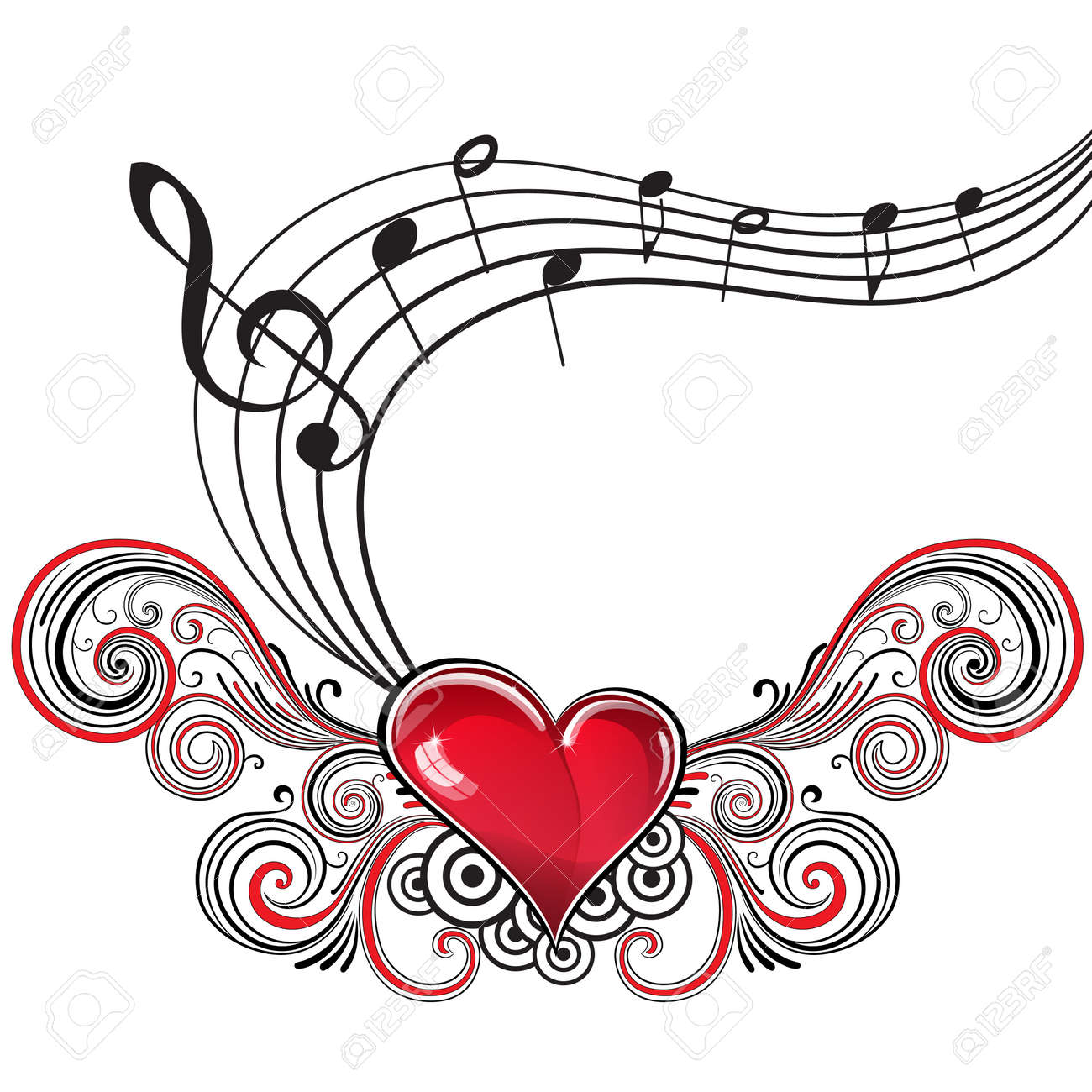 heart in grunge style with musical notes and treble clef royalty rh 123rf com Music Notes Music Note Icon