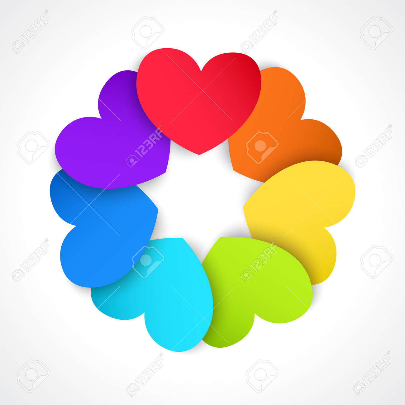 Circle of paper hearts, painted in all the colors of the rainbow Stock Vector - 17133178