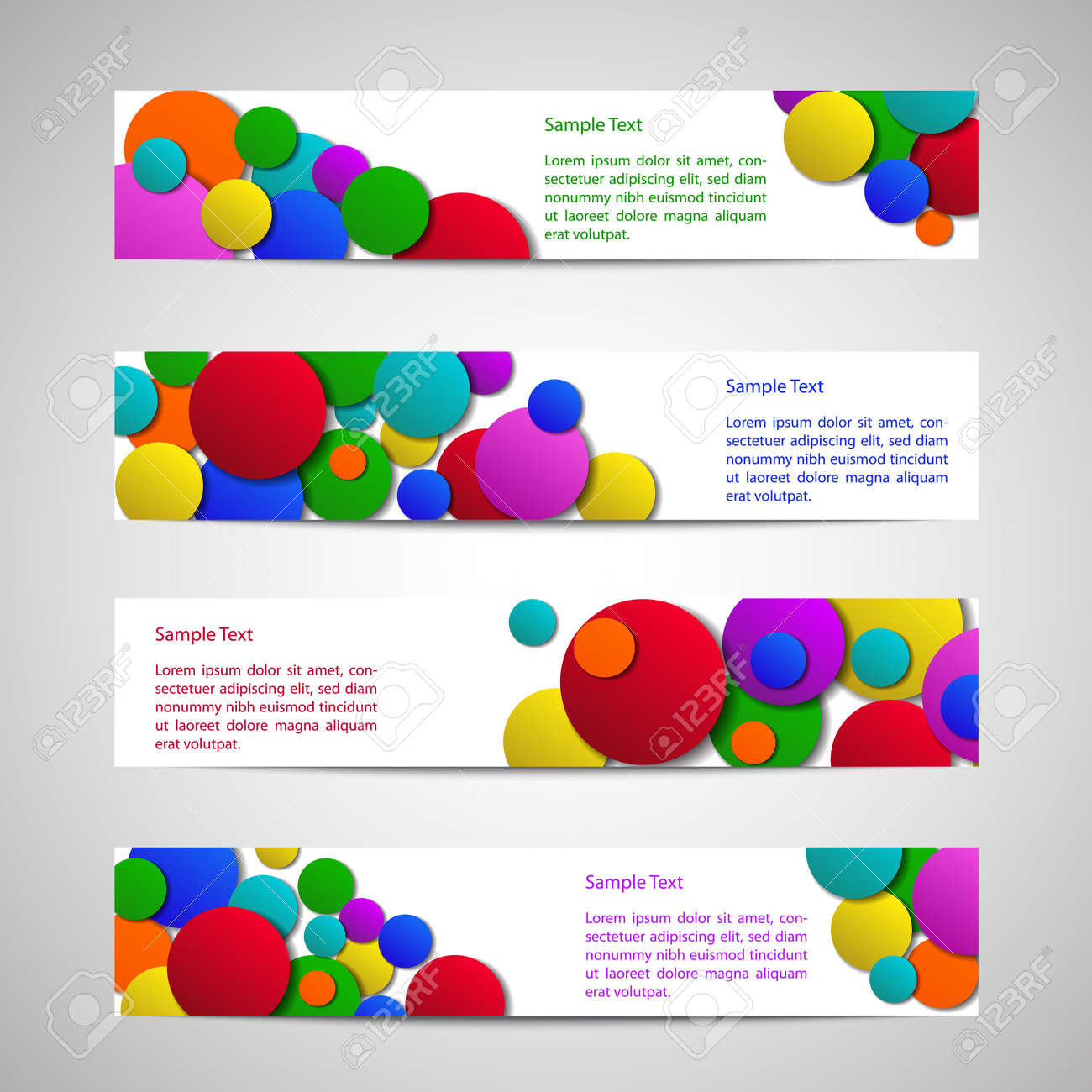 set of flyers colored circles and sample text royalty set of flyers colored circles and sample text stock vector 17514571