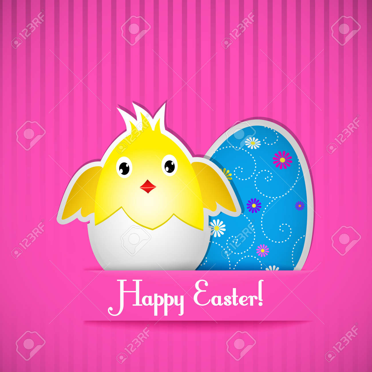 Easter card with chicken and egg, cut out of paper. Vector illustration. Stock Vector - 18221881