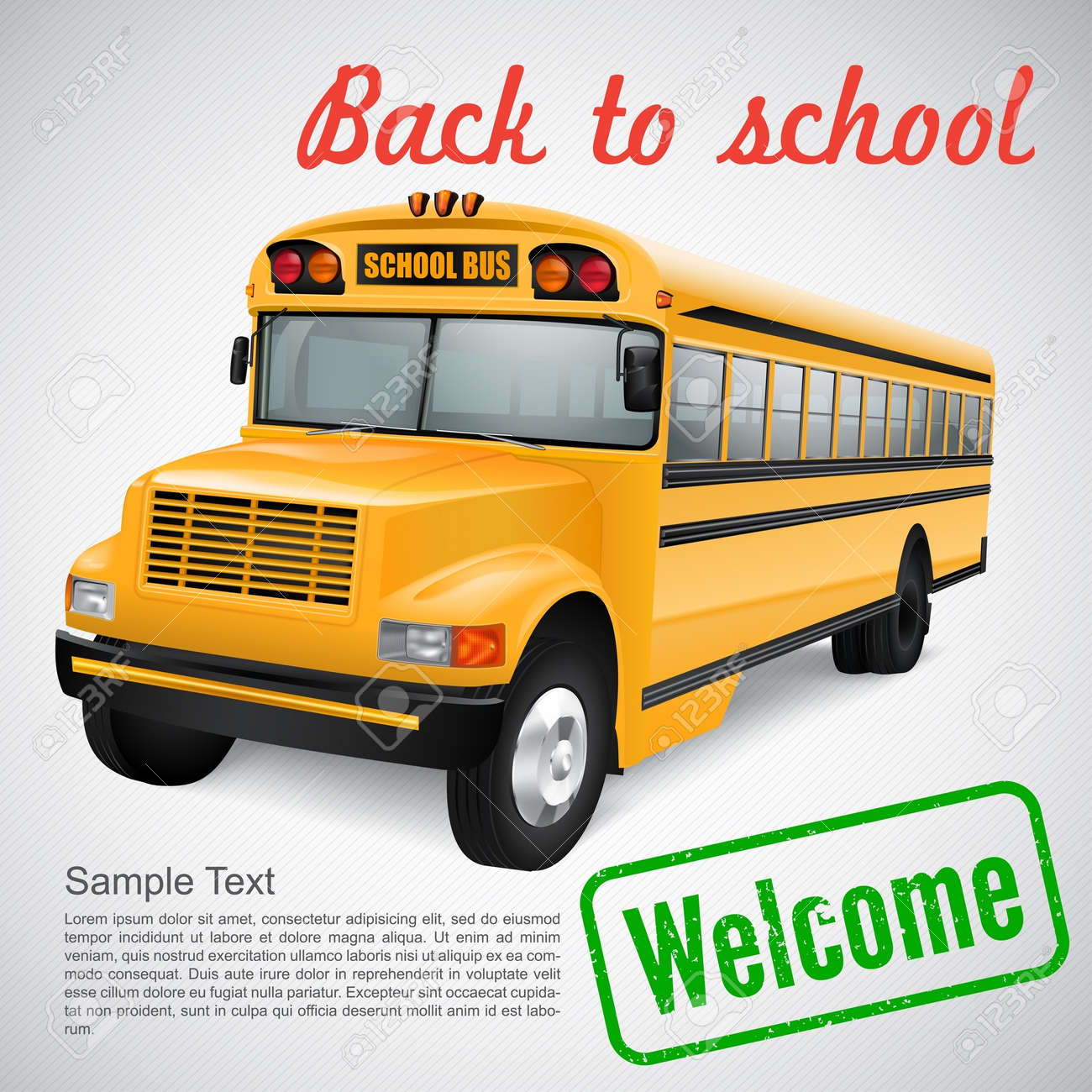 Realistic school bus on striped background Stock Vector - 21538358