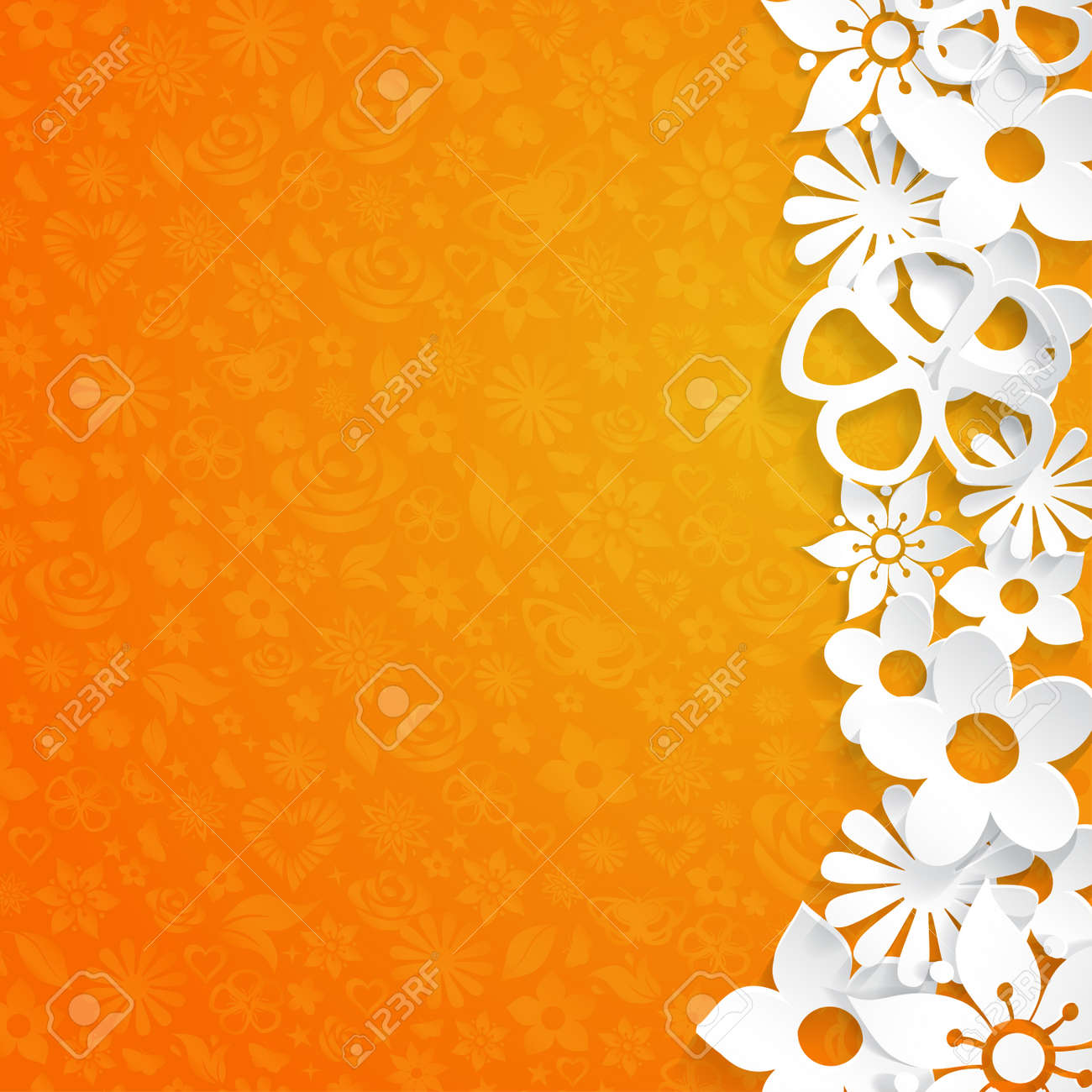 Orange background with flowers cut out of white paper
