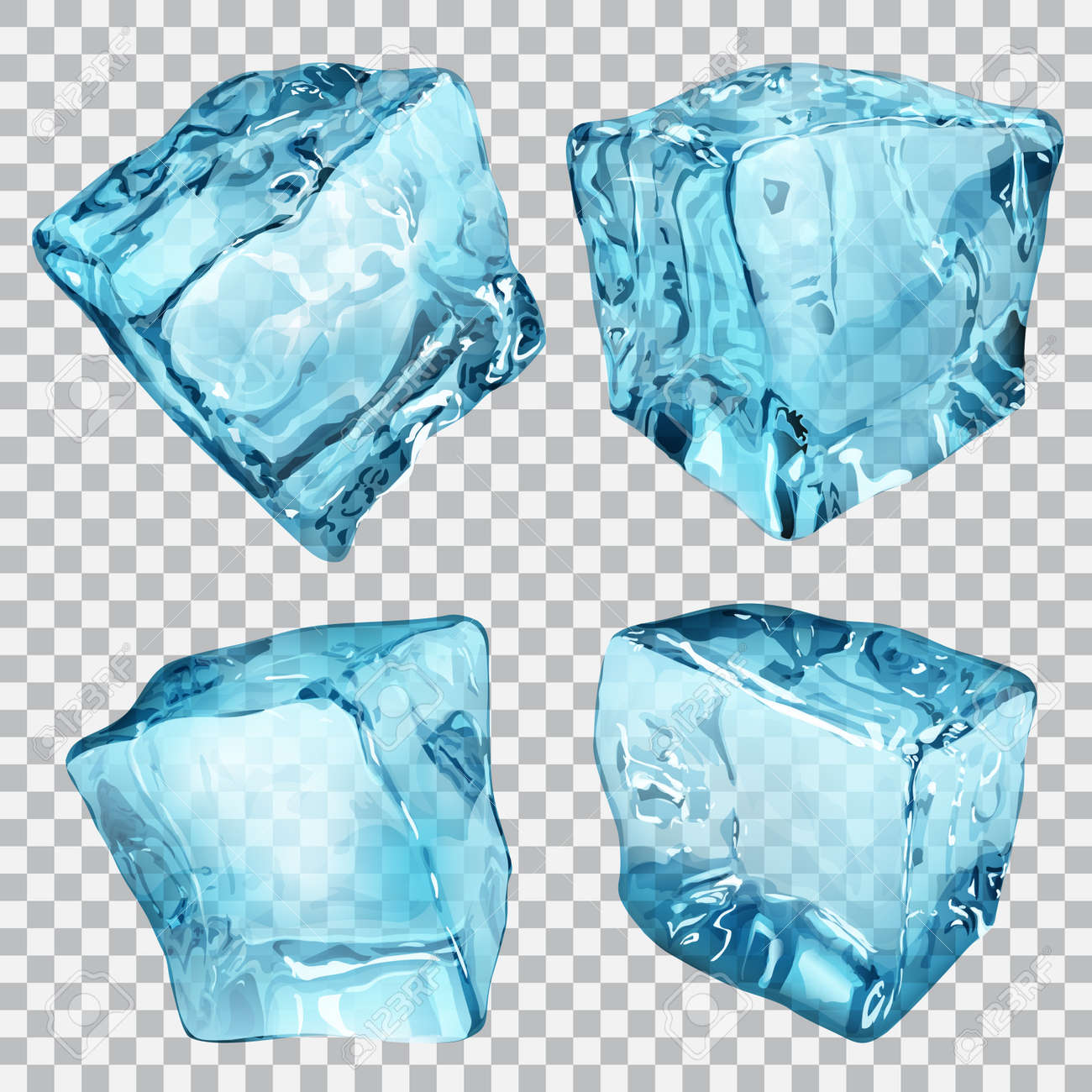 Set of four transparent ice cubes in light blue colors - 38672123