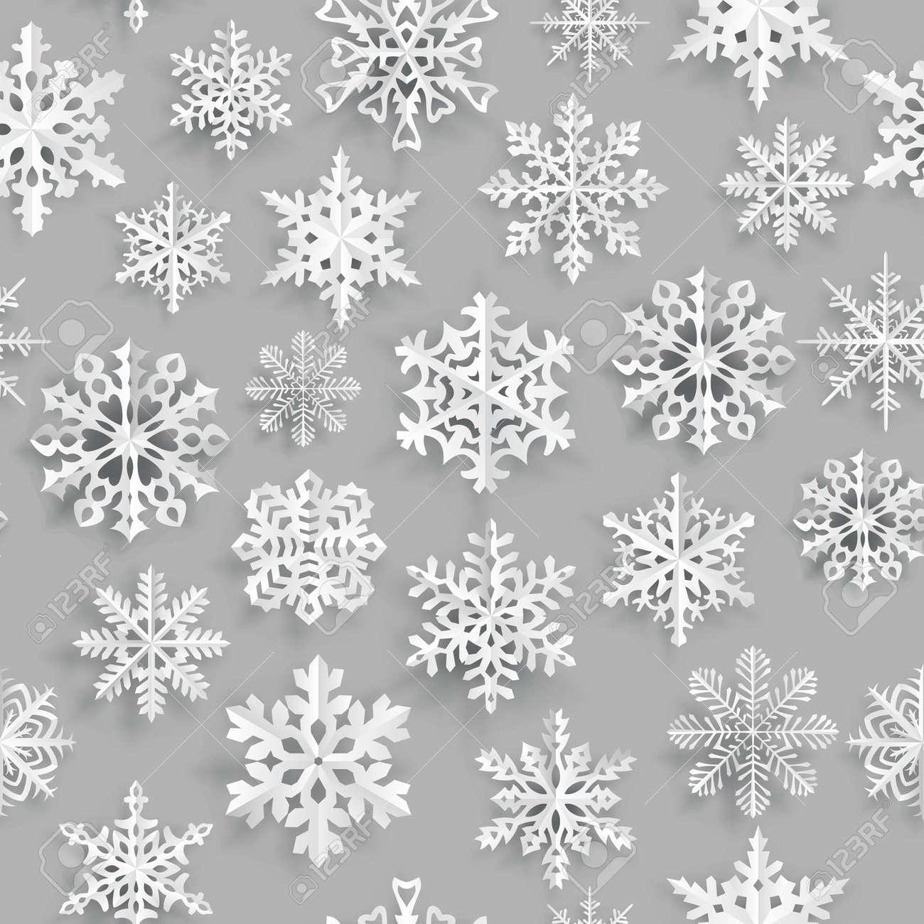 Weihnachten Nahtlose Muster Mit Weißem Papier Schneeflocken Auf