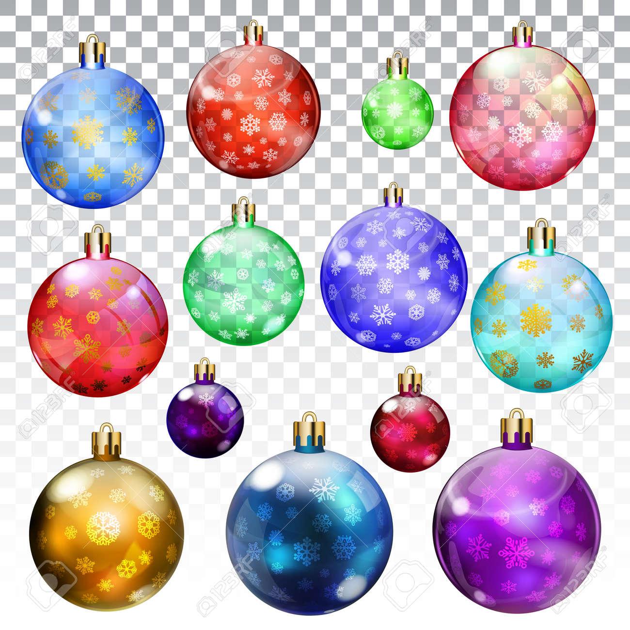 Conjunto De Bolas De Navidad Transparentes Y Opacas Con Copos De - Bolas-de-navidad-transparentes