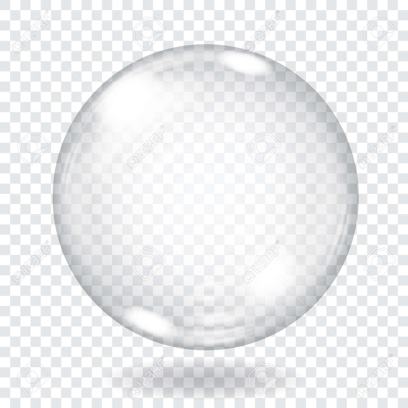Big transparent glass sphere with glares and shadow. Transparency only in vector file - 51629313