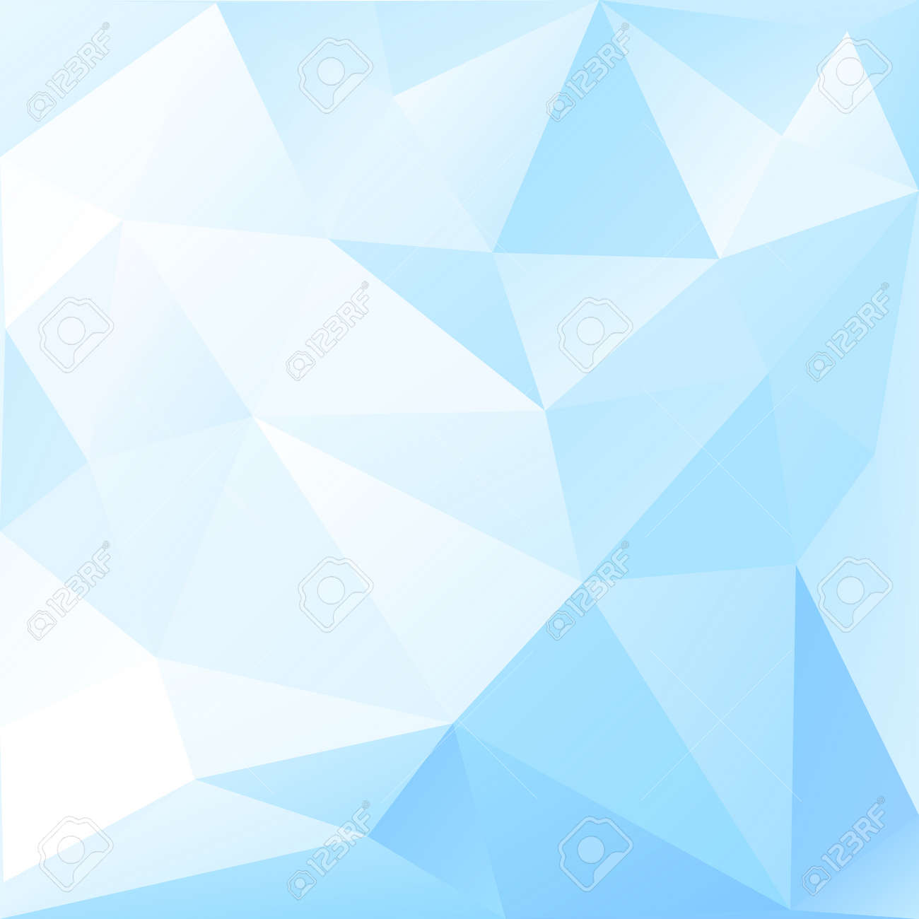 Abstract Low Poly Background Of Triangles In Light Blue Colors