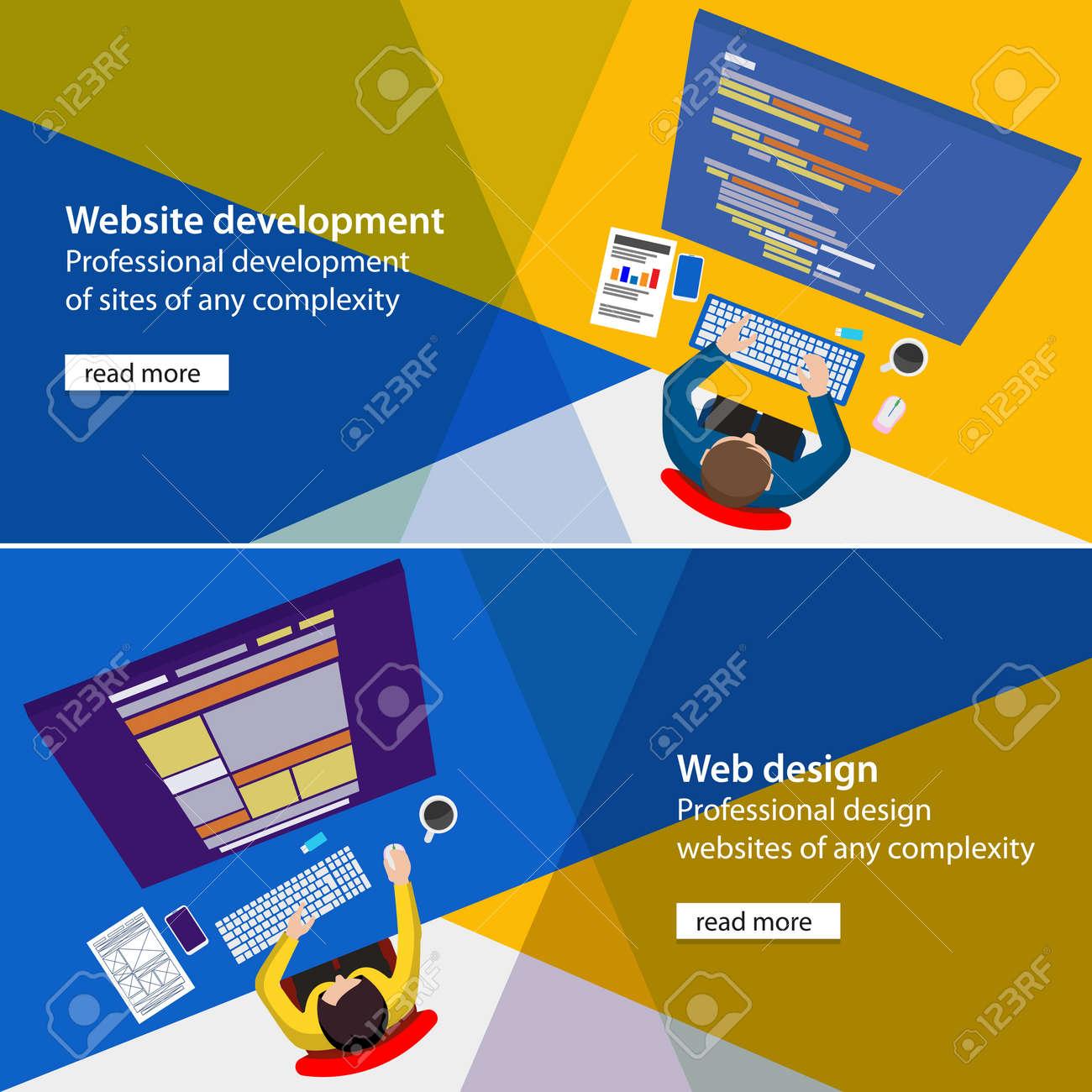 Free banner images for website - Banner Development And Design Process Programmer Site Flat Website Development And Design Process Illustration